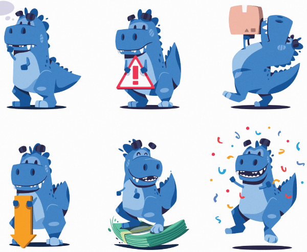 Really Good Simple Style Dinosaur Character Design