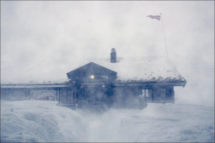 ISOLERT: Slik så det ut på på Haukeli fjellstue mandag ettermiddag. Vind og nedbør har gjort sikten dårlig. Trafikken har stått stille. Foto: Sten Anders Nessem