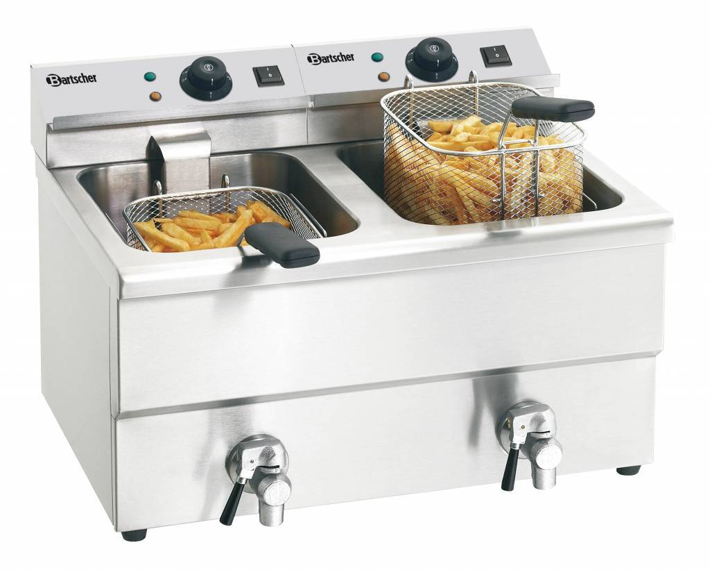 Electric Double Deep Fat Fryer With Oil Drain Tap Imbiss Ii
