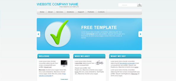 Simple Website CSS Template with Blue Slider