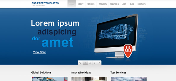 Blue Website CSS Template with jQuery Slider for Portfolio and Business