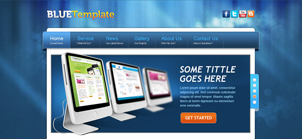 Creative Website CSS Template in Blue Color Scheme