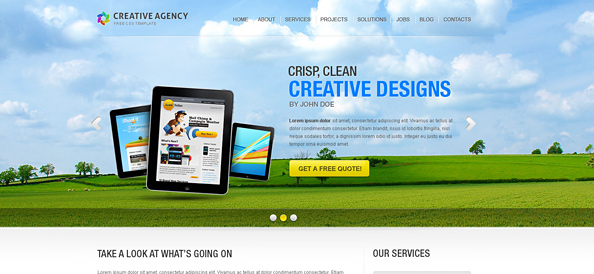 Creative Website CSS Template with Full Screen jQuery Slider