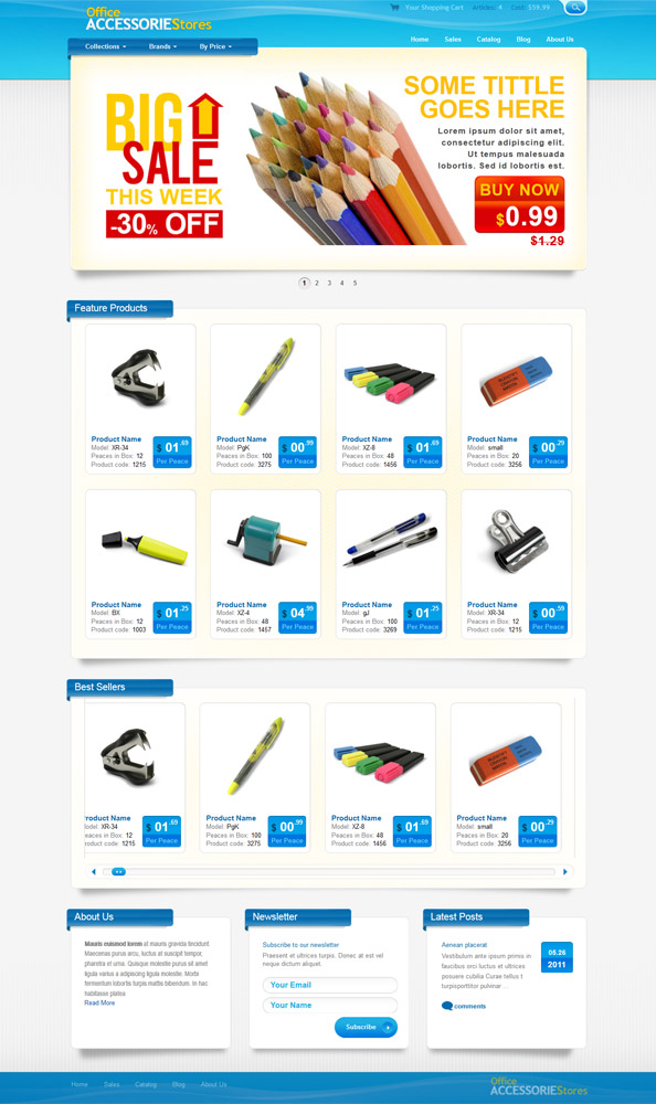 Ecommerce Website CSS Template for Office Supplies and Equipment ...