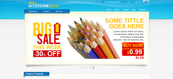 Ecommerce Website CSS Template for Office Supplies and Equipment