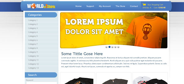 World of T-Shirts: Free Ecommerce Website CSS Template for T-Shirts