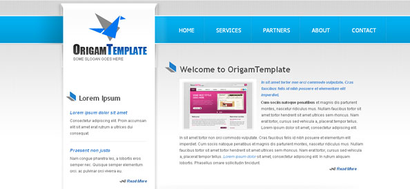 Origami Website CSS Template in Blue Color Scheme