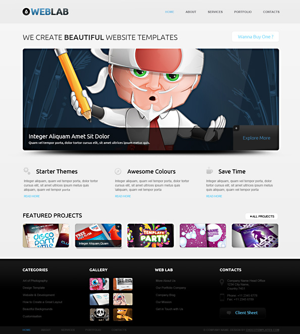 Free HTML5 Template WebLab Preview Big