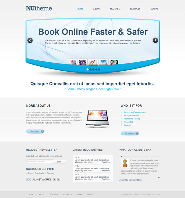 Website CSS Template in Blue Colors Preview