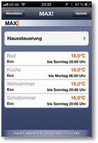 Steuerung in iOS-App: Raumübersicht