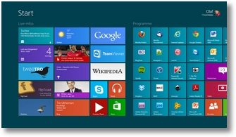 Startsbildschirm Windows 8