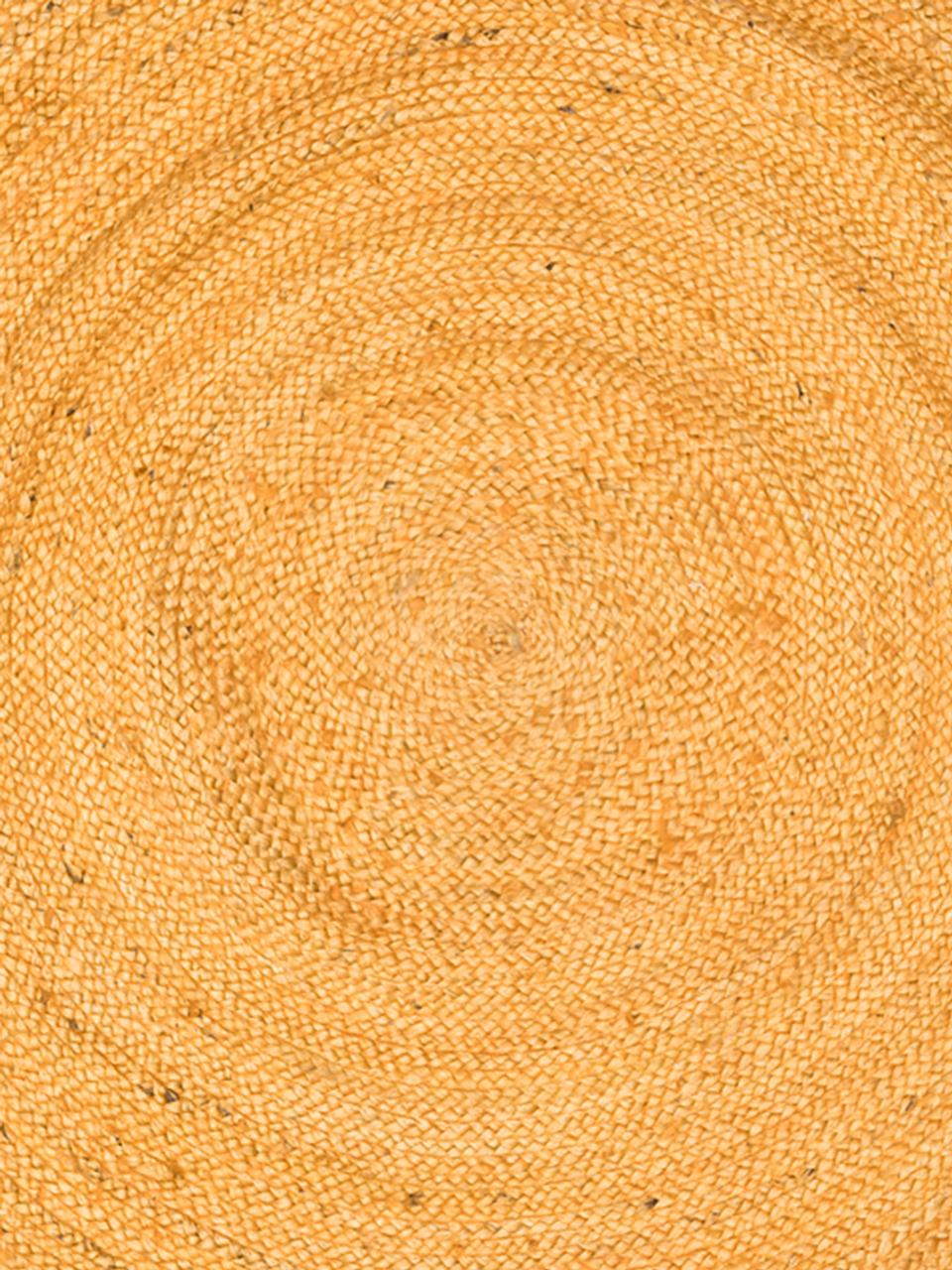 tapis rond en jute jaune pampas