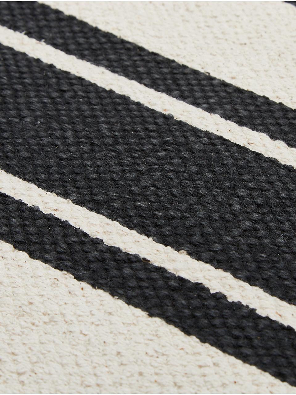 tapis de couloir raye noir beige vigga