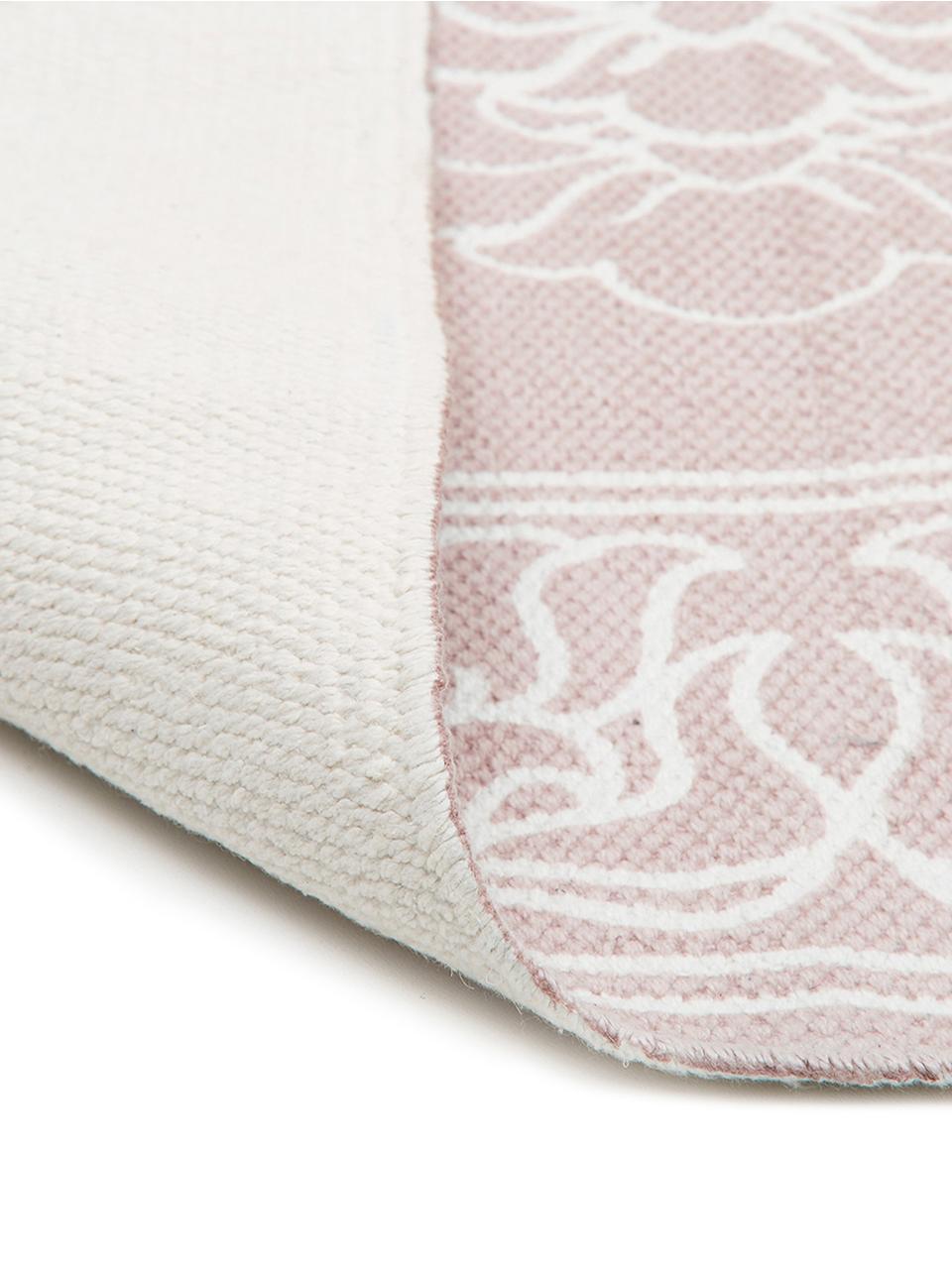 tapis boheme rose et blanc tisse main salima