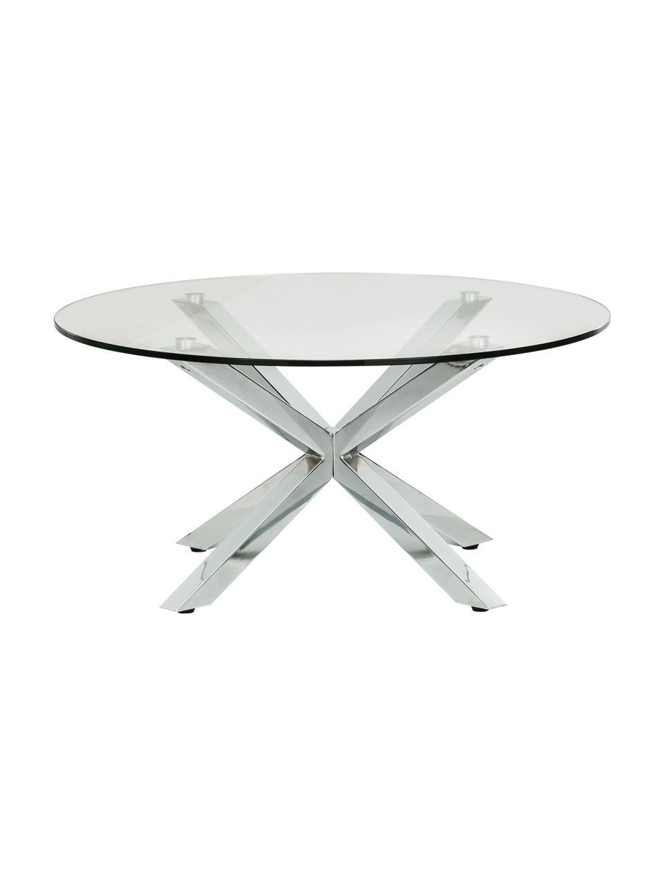 table basse ronde en metal et verre emilie