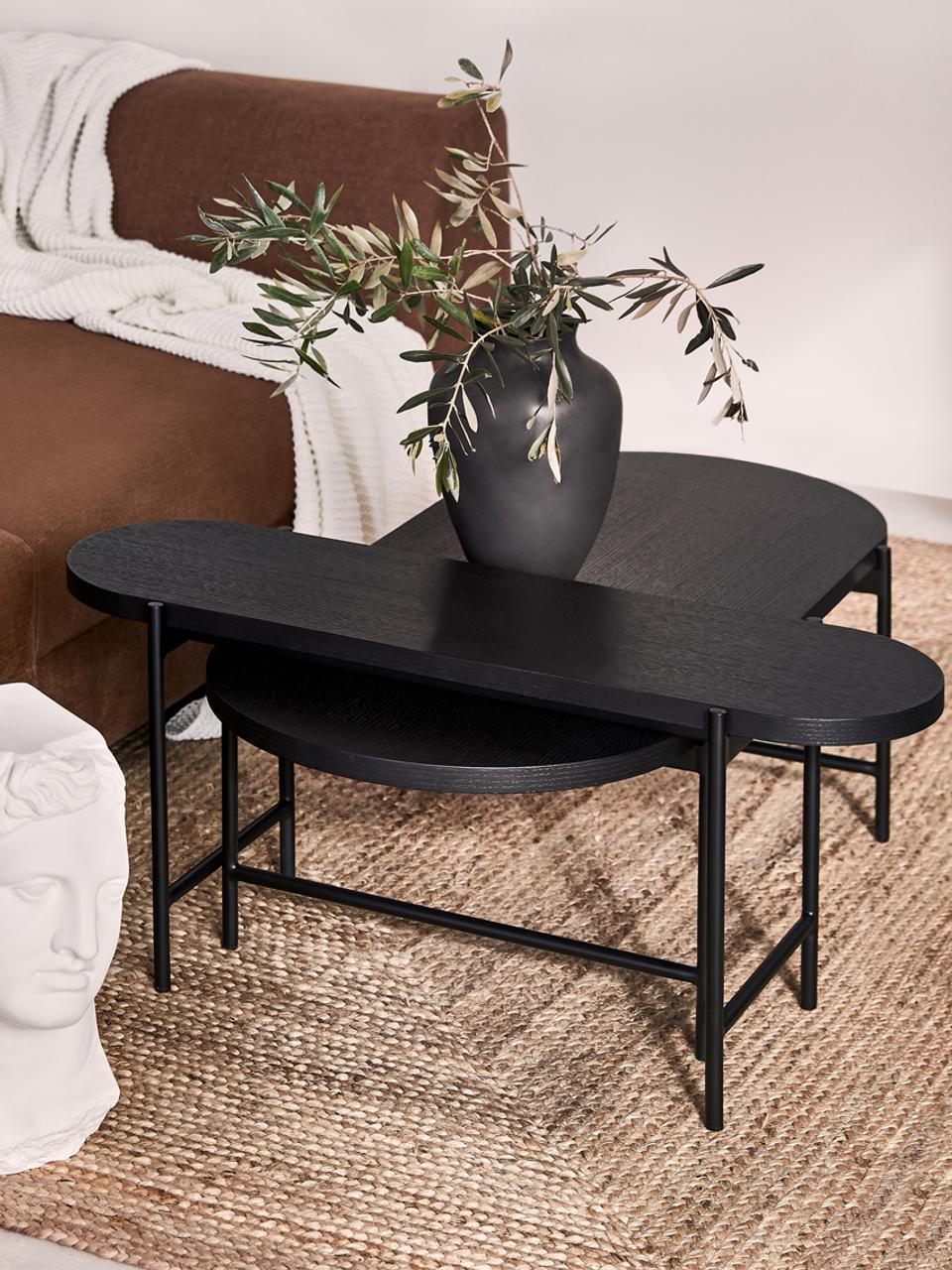 table basse noire avec plateau en bois mica 2 elem