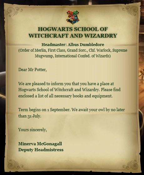 hogwarts acceptance letter harry