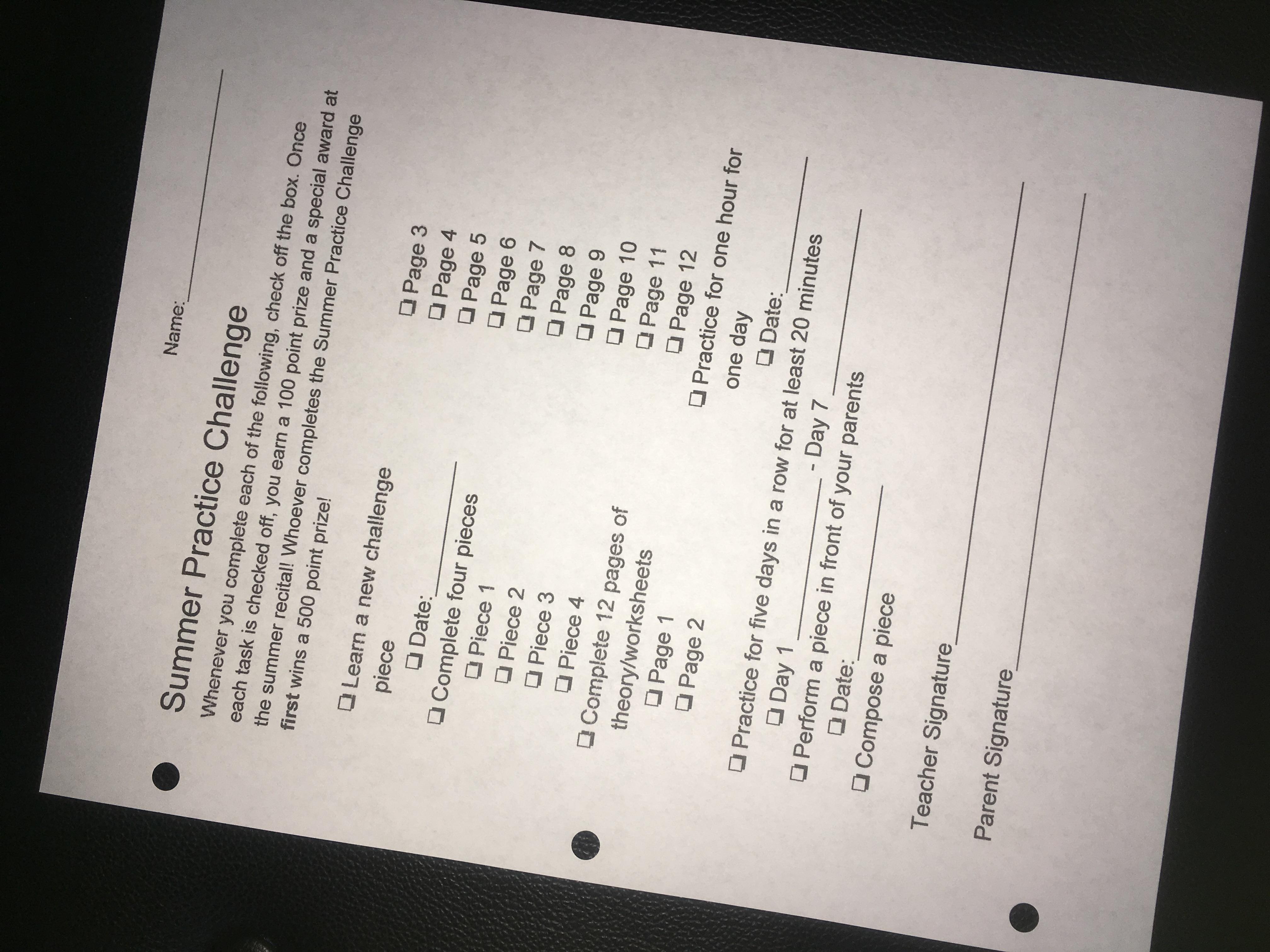Summer Practice Challenge Worksheet