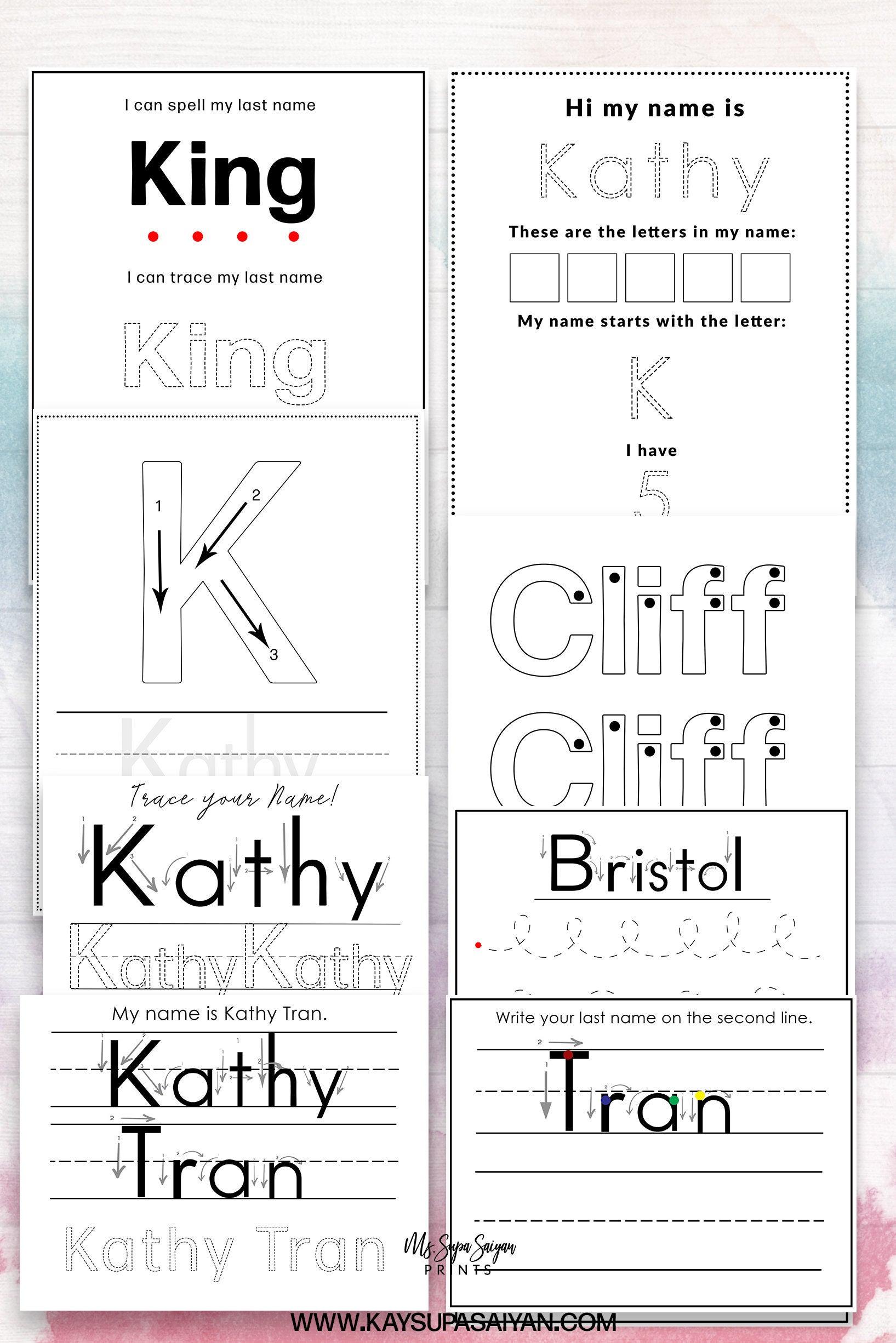 Custom Name Writing Worksheets