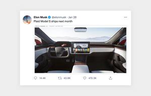 Tesla's social media tweet of company news