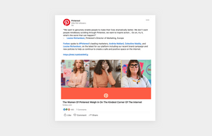 pinterest shows their employees on their linkedin social media post
