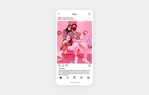 Leverage user-generated content by the museum of ice cream. two people eating ice cream in pink background