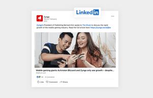 Zynga's linkedin social media content example of sharing industry news