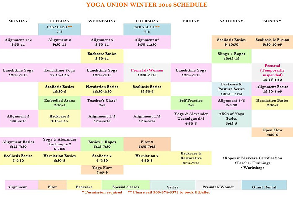 Union Yoga Schedule