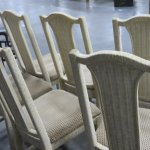 Vintage Wicker Set Of 6 Upholstered Dining Chairs Standpipeantiques