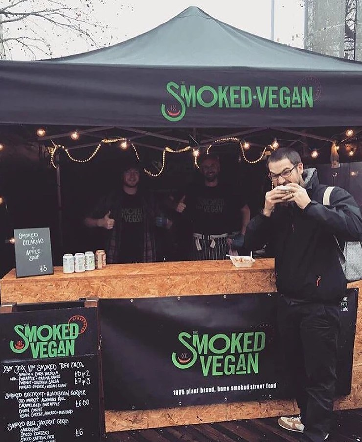 vegan street food stall and food truck