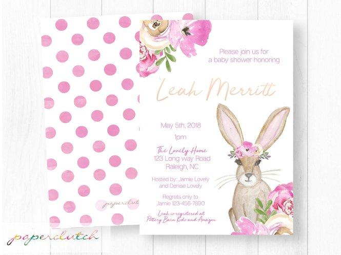 Bunny Baby Shower Invitation Boho Invite