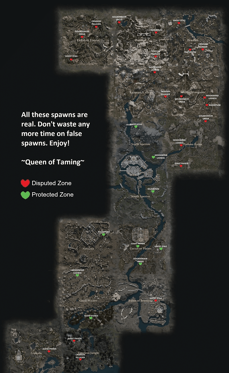 Verified spawn locations for all 30 Rare Tames