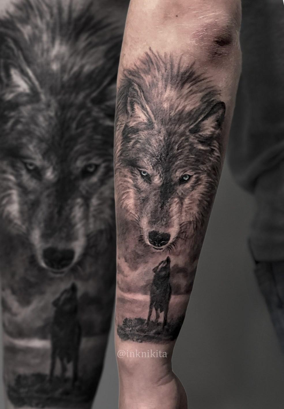 тату на руке фото волк