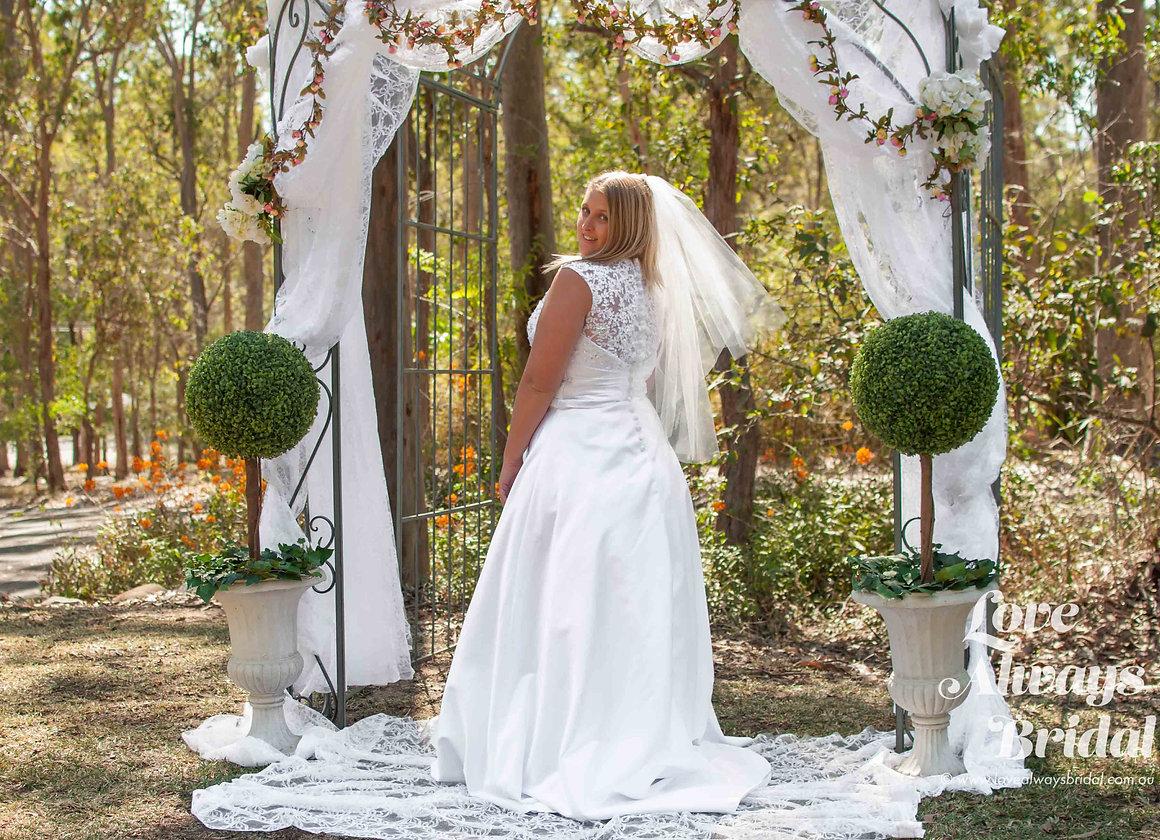 V-Neck Lace And Satin Wedding Dress