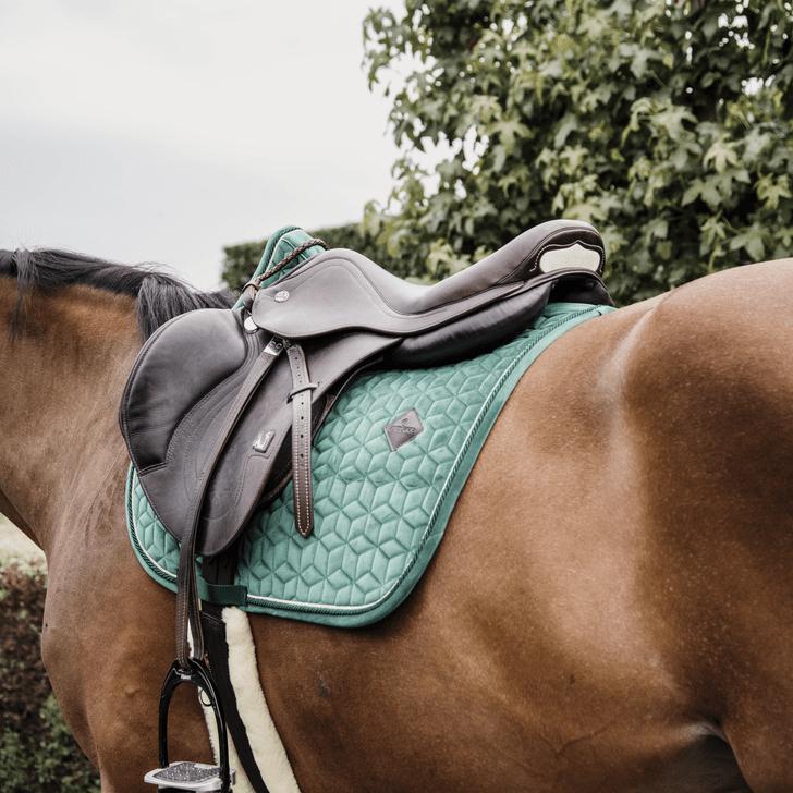 tapis de selle velvet vert sapin kentucky horsewear demivolte