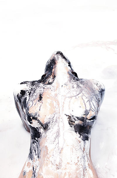 sight unseen, shape shift, drip, black and white, bath, pool, portrait, alexa sheila, mead, shiela, torso, skin, milk, body painting, 2d 3d, acrylic paint, space, optical illusion, fine art, oil painting, reverse, model, painter, painted photo, portrait