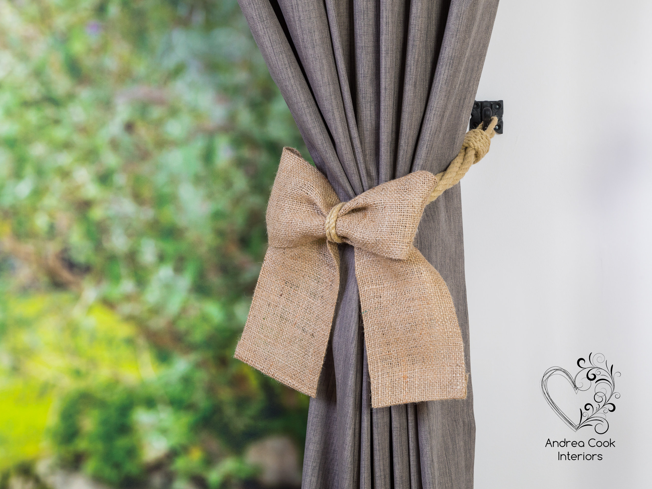 beige burlap bow curtain tie back andrea cook interiors