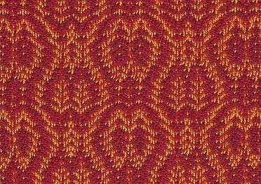 Parallell Twills Sample by Robyn Spady: red weft with orange warp