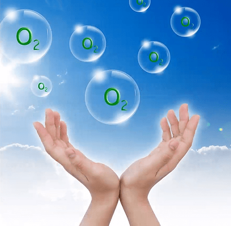 O2 bubbles with hand grasping for them