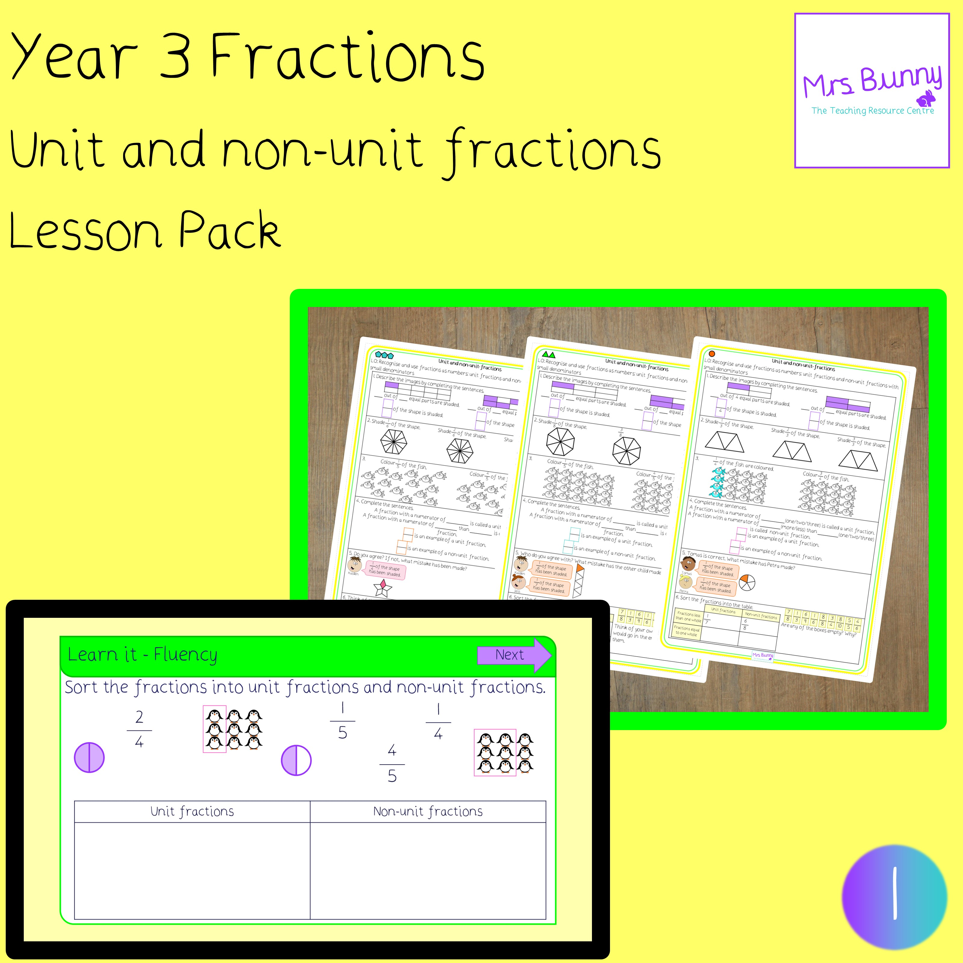 Unit And Non Unit Fractions Lesson Year 3 Fractions
