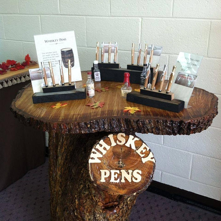 pens made from the staves of whiskey barrels