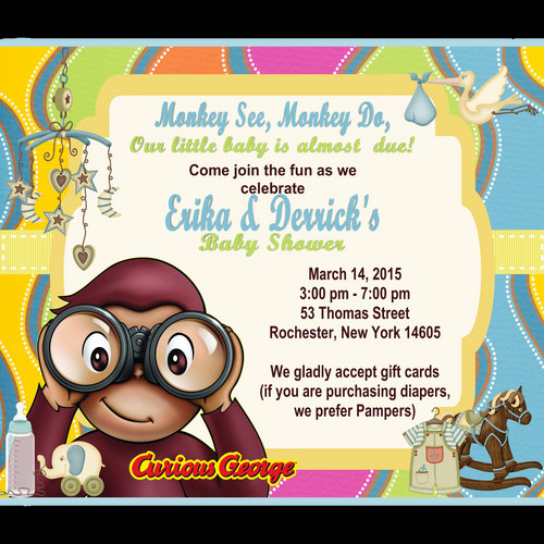Curious george baby shower invitations paperinvite curious george baby shower invitation baby shower invitations events unique by cheryl filmwisefo