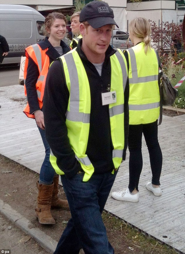 Harry in High vis a la civilian clothing.