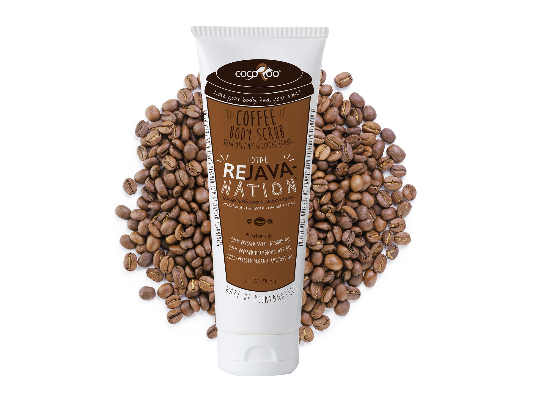 CocoRoo's ReJavanation body scrub is made with Organic Arabica Coffee Beans along with cold- pressed sweet almond oil, cold- pressed coconut oil, and cold- pressed macadamia nut oil. The fresh organic coffee will leave you feeling completely refreshed without clogging your drain. It exfoliates, smooths, and moisturizes, with a wonderful coffee aroma you will crave that will leave you wide awake as if you just bathed in your morning cup of coffee! Retails for $19.95.