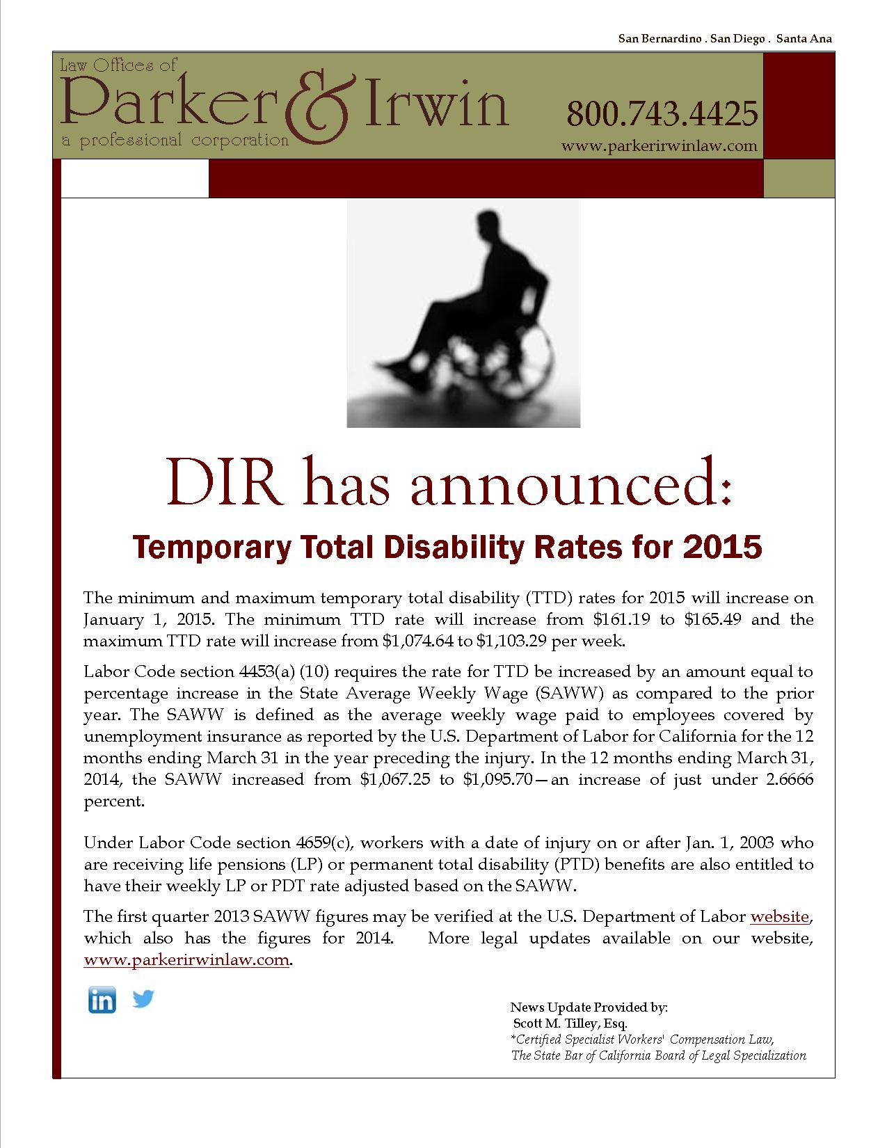 Dir Has Announced Temporary Total Disability Rates For