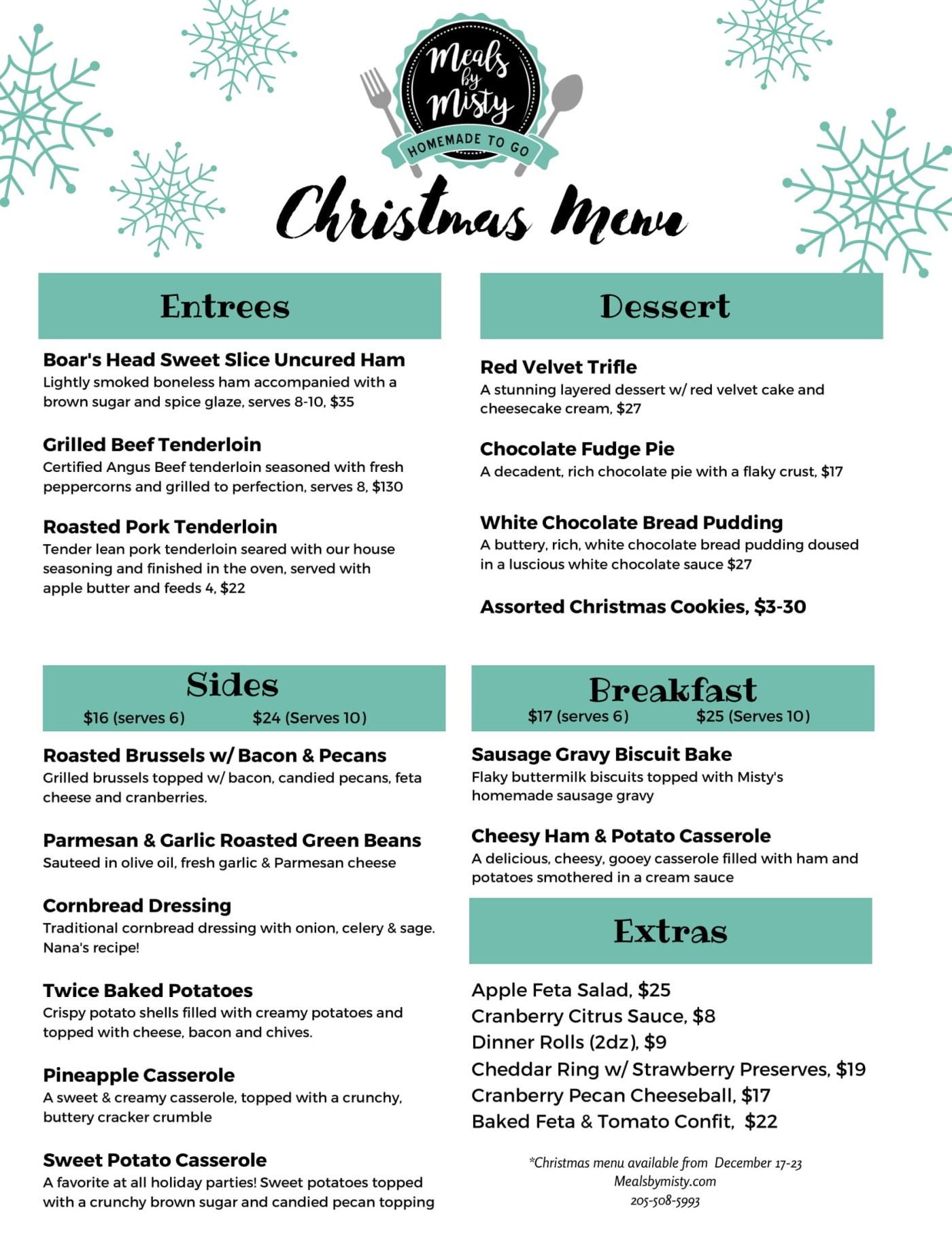 Christmas & NYE meals