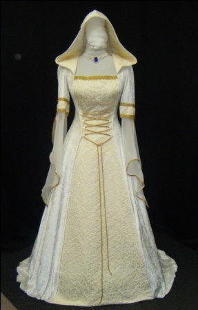 Medieval Renaissance Dress And Garb By Knights In White Satin Ivory Champagne Renaissance
