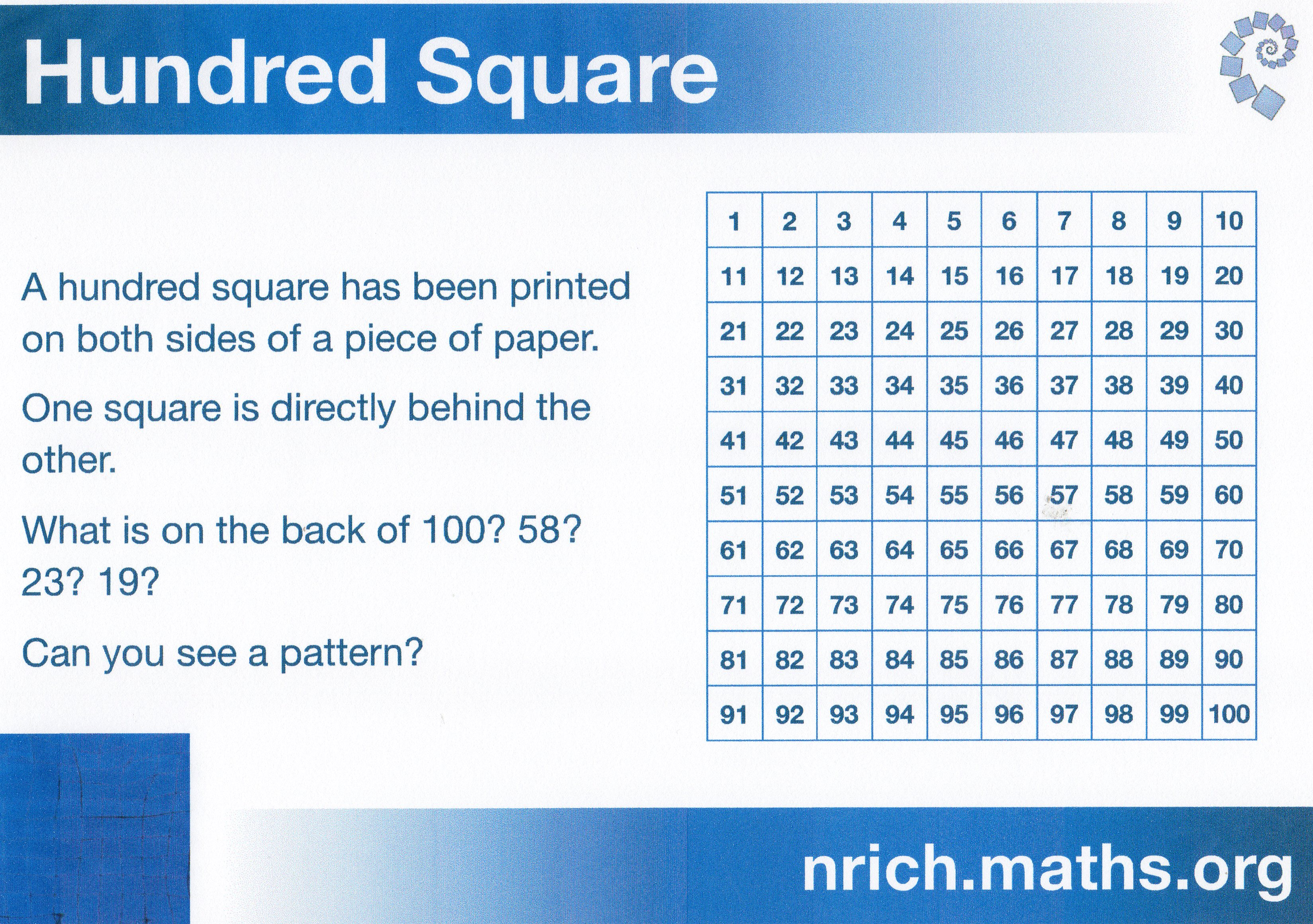 Looking For Patterns In A Hundred Square