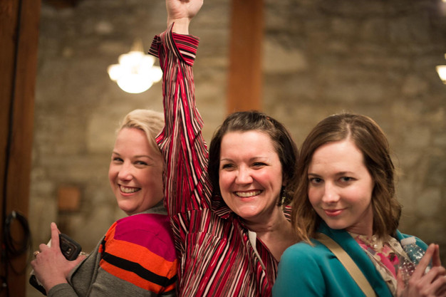 The author (middle) doing the Charlie's Angels pose with two friends at Third Tuesday Spokane.