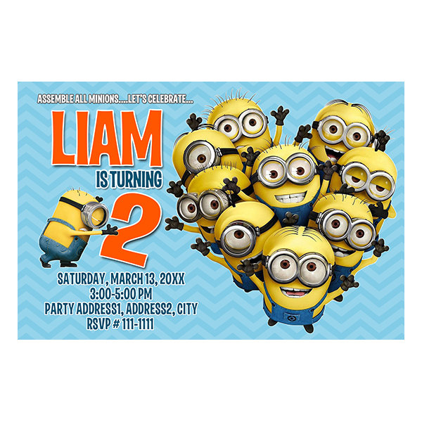 despicable me minnions birthday invitation dme 001 party peeks